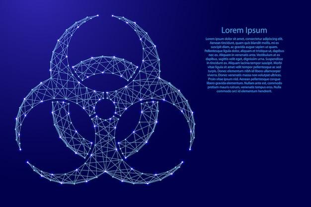 Sinal de risco biológico de linhas azuis poligonais futuristas. Vetor Premium