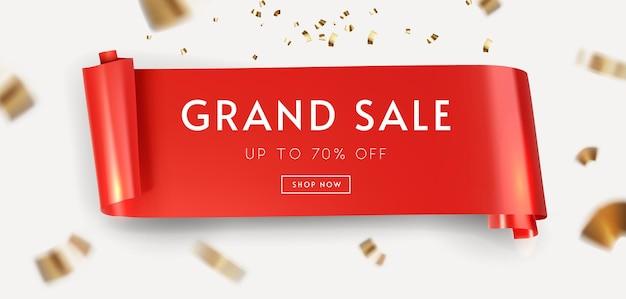 Sinal de venda com faixa vermelha e fita dourada fora de foco Vetor Premium