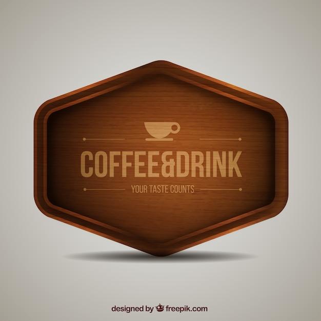 Sinal do café de madeira Vetor grátis