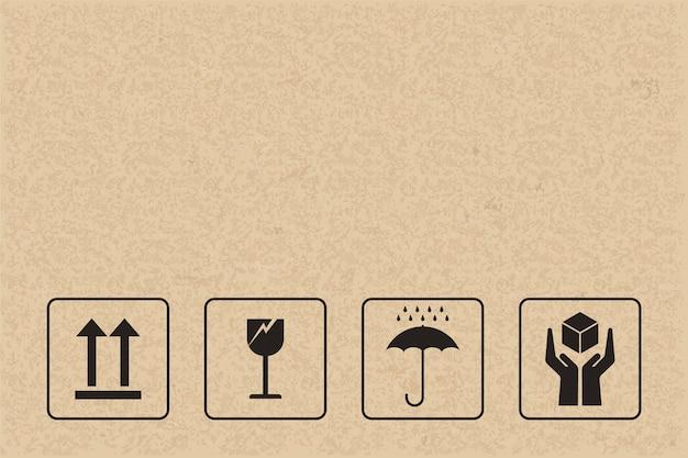 Sinal e símbolo frágeis no papel marrom. Vetor Premium