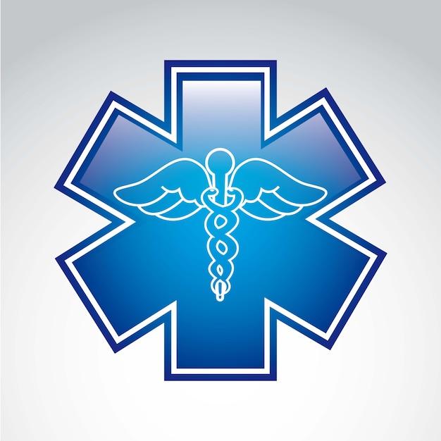 Sinal médico sobre ilustração vetorial de fundo cinza Vetor Premium