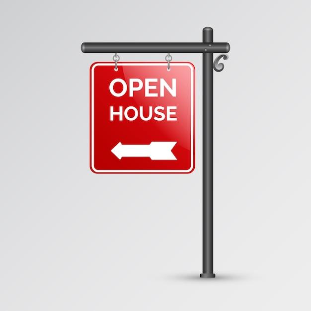 Sinal mínimo de casa aberta vermelho Vetor grátis