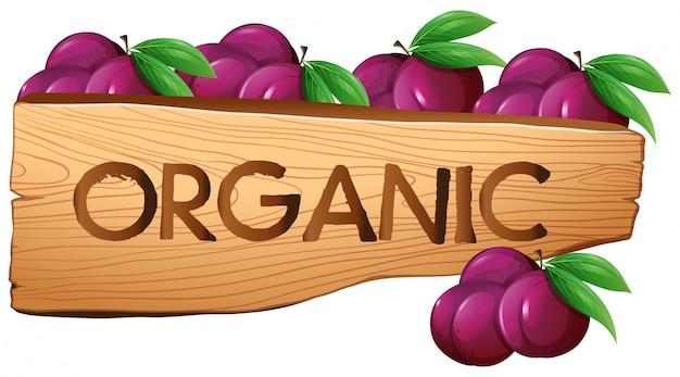 Sinal orgânico com ameixas Vetor grátis