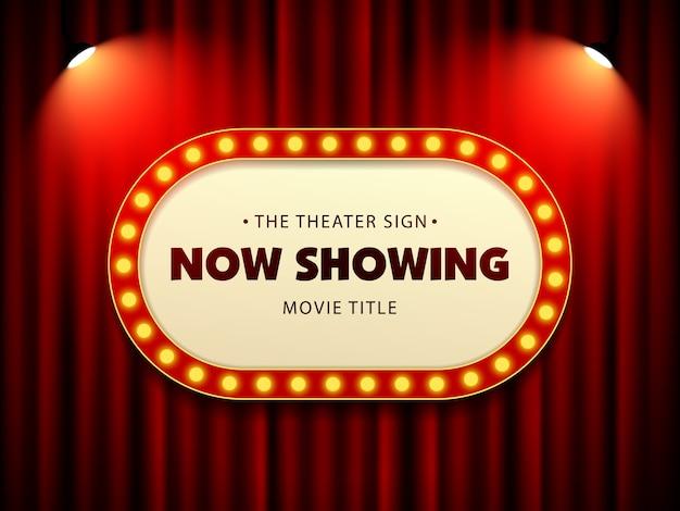 Sinal retro do teatro do cinema na cortina com projetor Vetor Premium