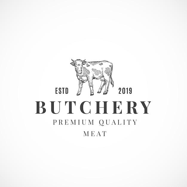 Sinal, símbolo ou logotipo abstrato de carne de qualidade superior para açougueiro Vetor Premium