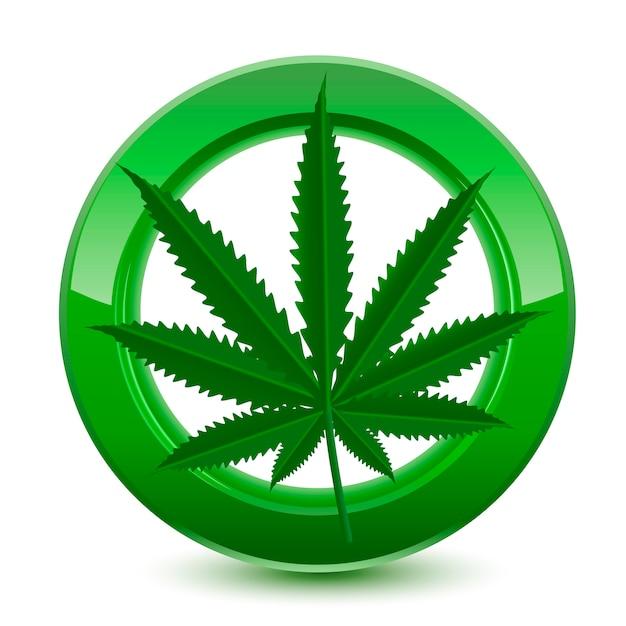 Sinal verde de maconha legal Vetor Premium