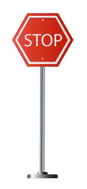 Sinal vermelho de parada, octógono de sinalização de advertência regulamentar de tráfego isolado, moldura octogonal branca, Vetor Premium