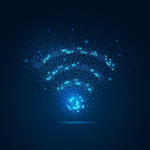 Sinal wifi com elemento Vetor Premium