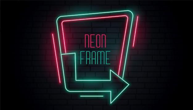 Sinalização de seta de néon brilhante com espaço de texto Vetor grátis