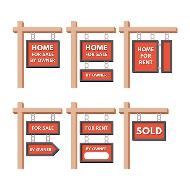 Sinalização de venda de imóveis Vetor grátis