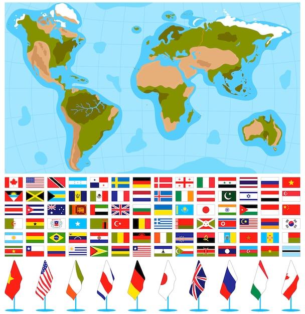 Sinalizadores de mapa mundo conjunto de ilustração vetorial. Vetor Premium