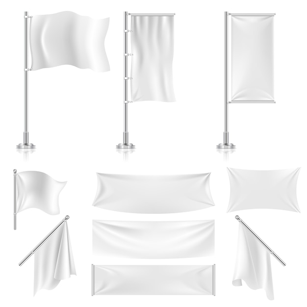 Sinalizadores de têxteis de publicidade branco realista Vetor Premium