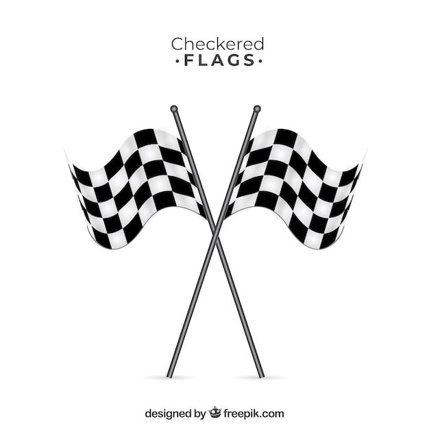 Sinalizadores de xadrez corrida com design plano Vetor grátis