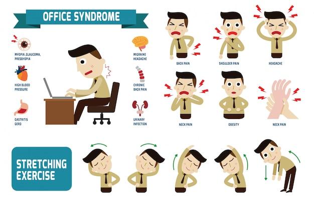 Síndrome de escritório infographics conceito de saúde Vetor Premium