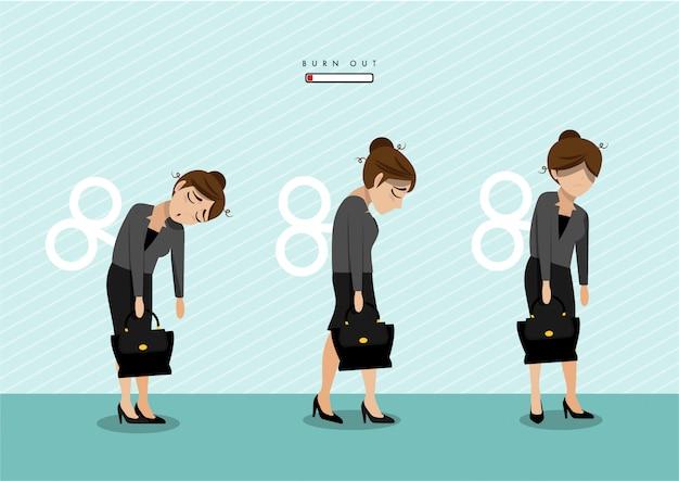 Síndrome de queimadura com trabalhador de escritório feminino exausto. trabalhador frustrado, problemas de saúde mental. Vetor Premium
