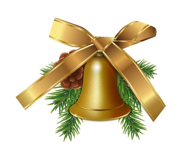Sino dourado de natal com galhos de pinheiro, cone e fita de arco de ouro isolada no fundo branco. Vetor Premium