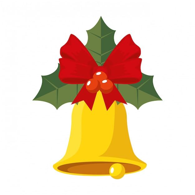 Sinos de natal e folhas ícone decorativo Vetor Premium