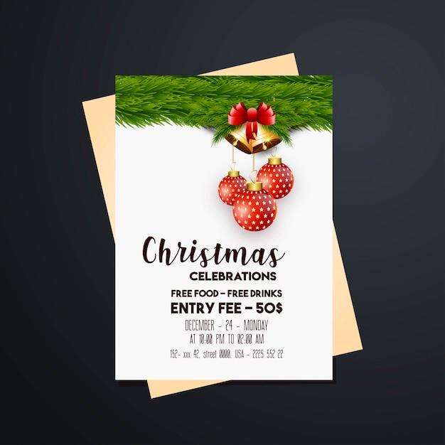 Sinos dourados banner de natal & fundo Vetor grátis