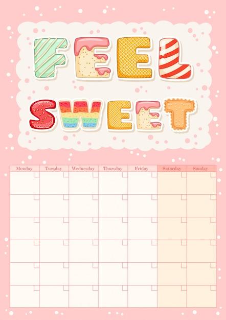 Sinta-se doce bonito calendário mensal colorido com elementos de sorvete. Vetor Premium