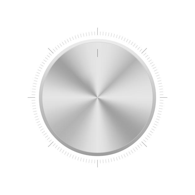 Sintonizador de botão de controle de volume. controlador de nível de alumínio realista. Vetor Premium