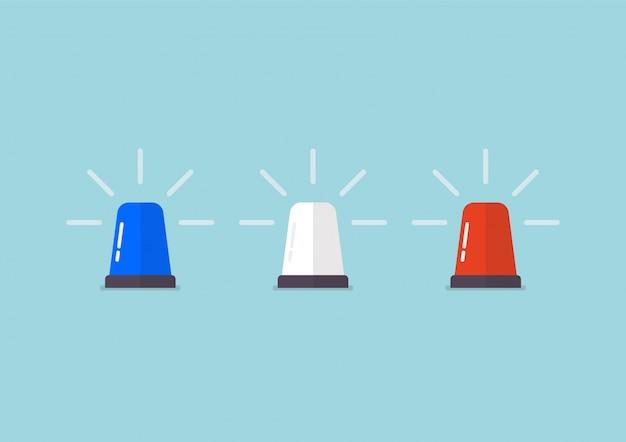 Sirene do pisca-pisca da polícia de três cores Vetor Premium