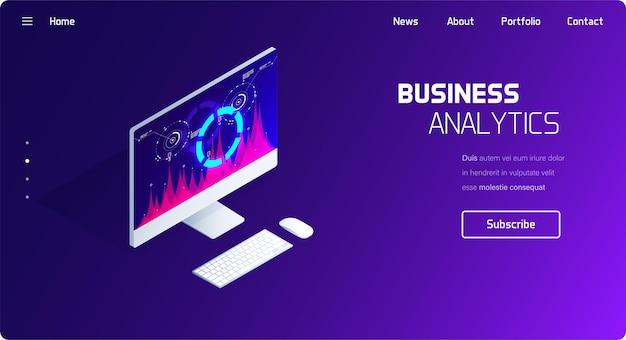 Sistema de análise de negócios e finanças. Vetor Premium