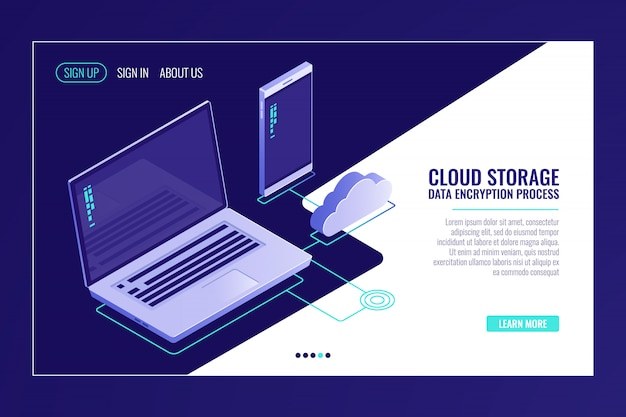 Sistema de arquivo cloid storaging, laptop com smartphone, upload de dados na sala do servidor remoto Vetor grátis