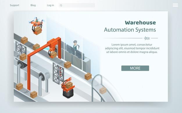 Sistema de automação de armazém flat web cartoon. Vetor Premium