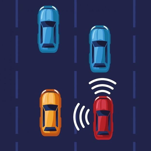 Sistema de gps para localização de carros Vetor grátis