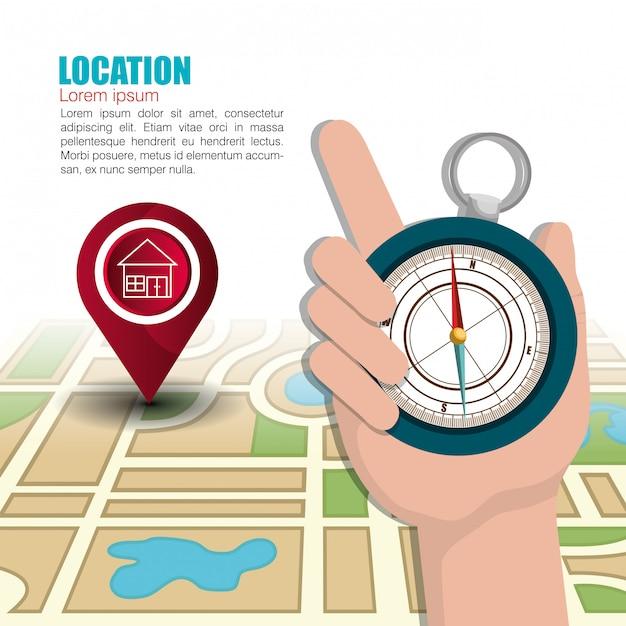 Sistema de localização geográfica Vetor grátis