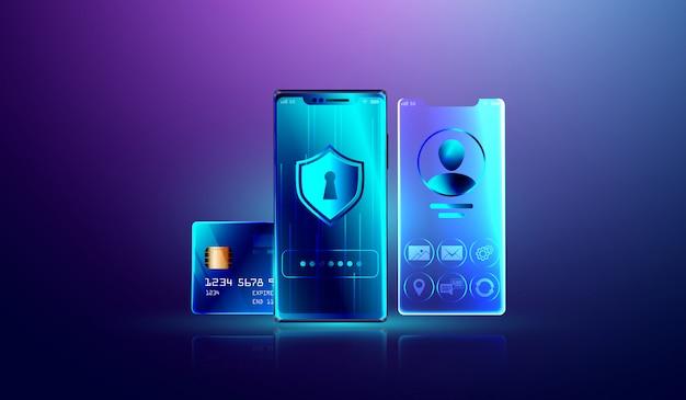Sistema de proteção de dados e bloqueio seguro de informações pessoais Vetor Premium