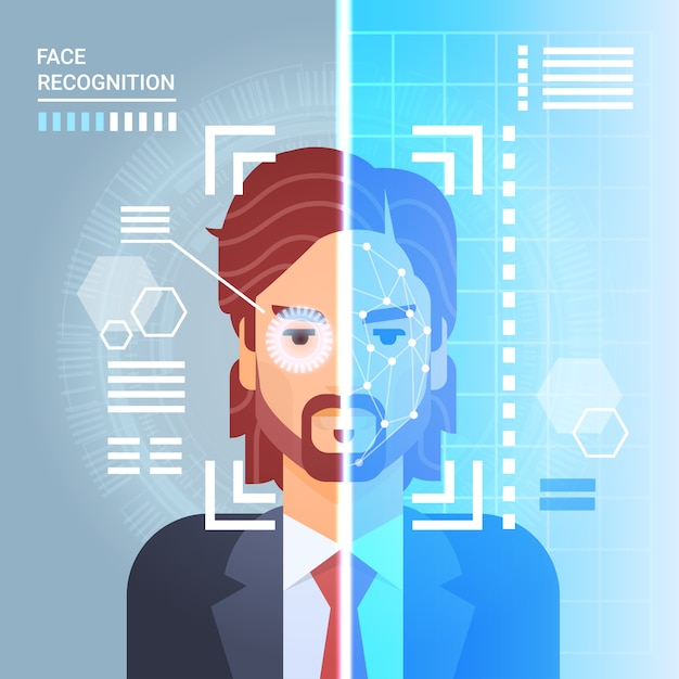 Sistema de reconhecimento de rosto scanning retina de olho de homem de negócios moderno acesso de tecnologia de identificação Vetor Premium