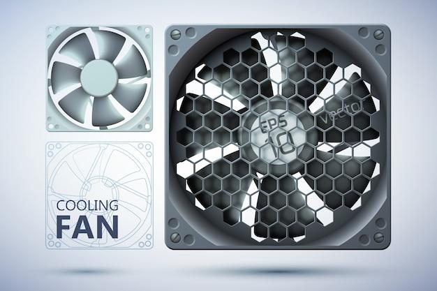 Sistema de refrigeração de computador com ventiladores realistas com e sem grade Vetor grátis