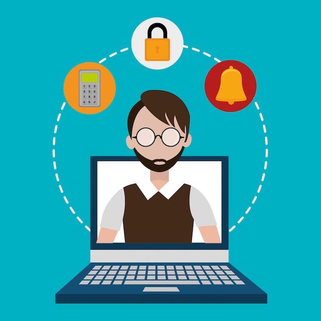 Sistema de segurança e vigilância Vetor grátis