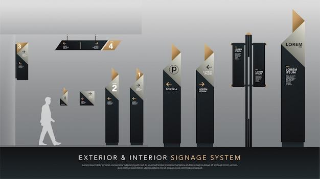 Sistema de sinalização exterior e interior Vetor Premium