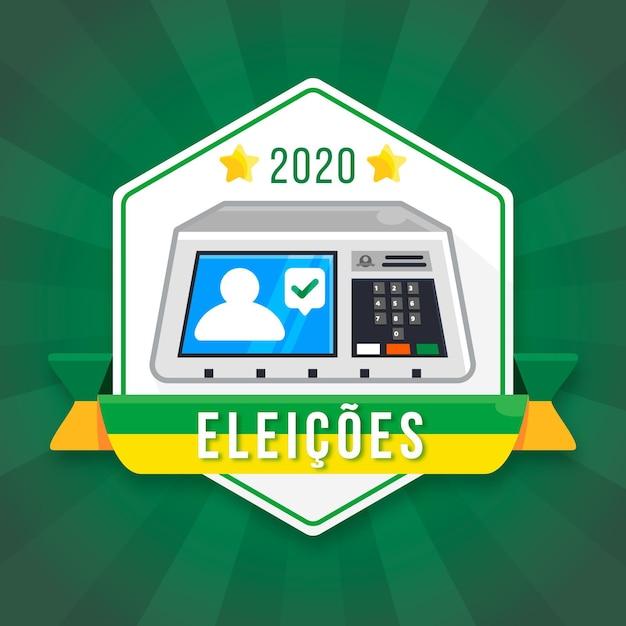 Sistema de votação digital no brasil Vetor Premium