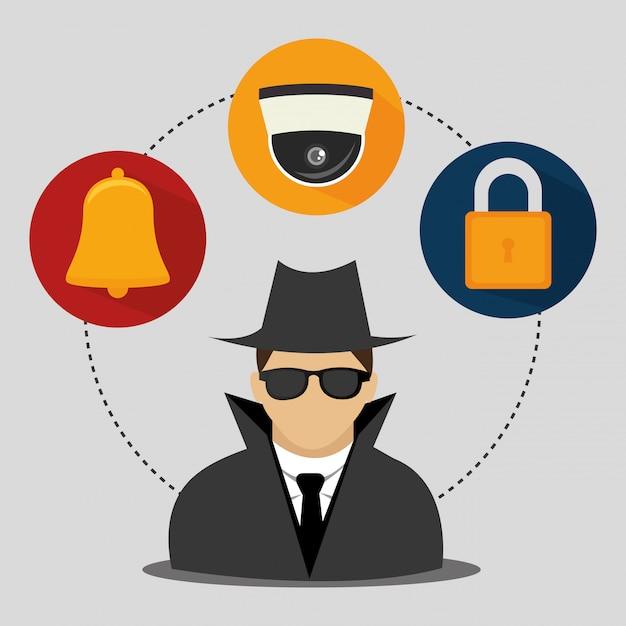 Sistema e tecnologias de segurança Vetor grátis