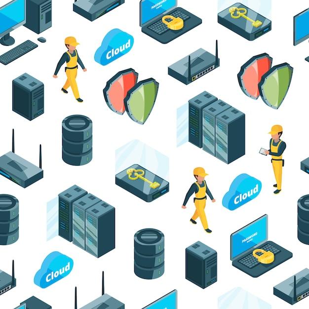 Sistema eletrônico de padrão de ícones de centro de dados ou ilustração Vetor Premium