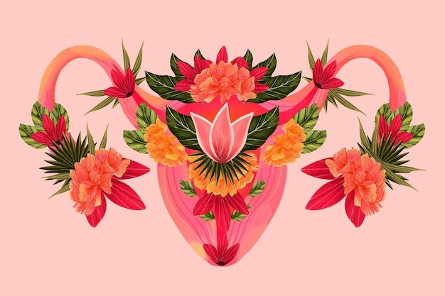 Sistema reprodutivo feminino com flores Vetor grátis