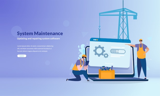 Sistema sob conceito de banner de manutenção Vetor Premium