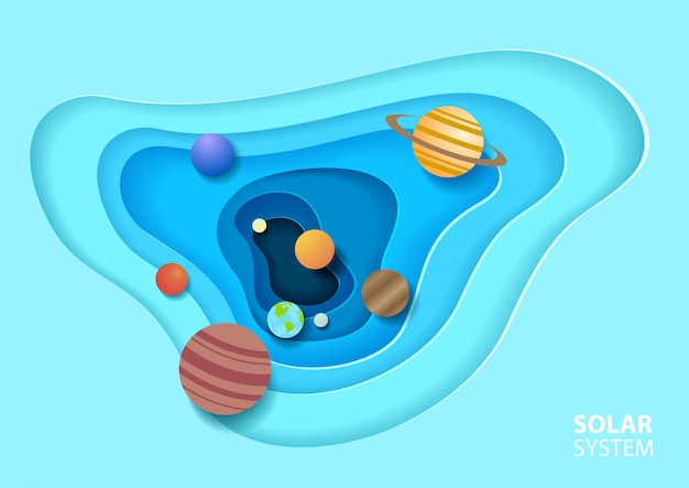Sistema solar em estilo de arte de papel Vetor Premium