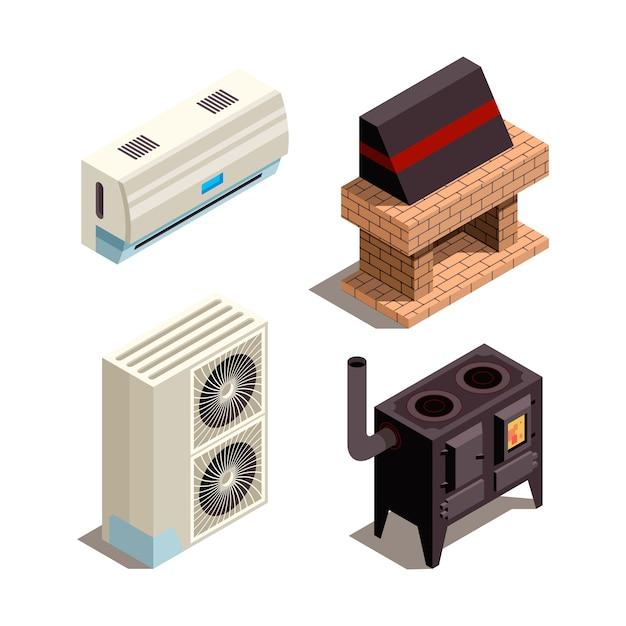 Sistemas de ar condicionado. coleção isométrica de tubulação de pressão de compressor de geradores de aquecimento de refrigeração Vetor Premium