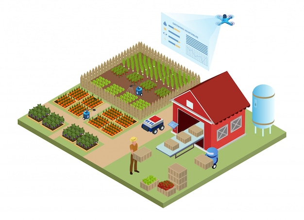 Sistemas de informação de gestão de fazenda inteligente robótica Vetor Premium