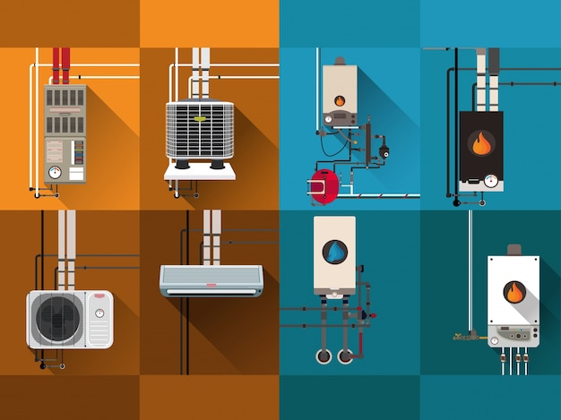 Sistemas de resfriamento e aquecimento Vetor Premium
