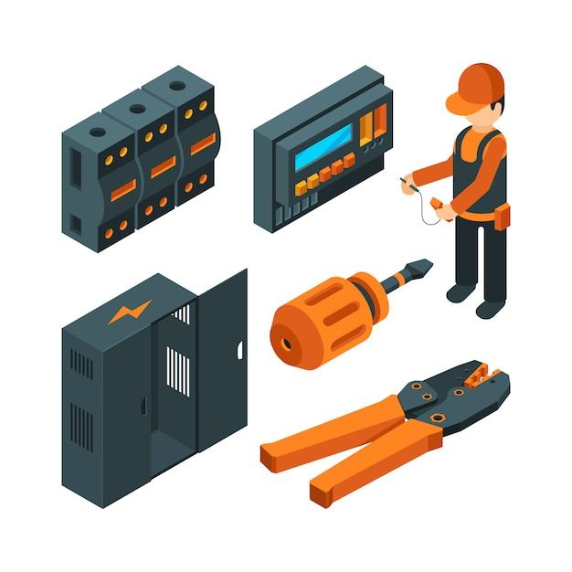 Sistemas elétricos isométricos. trabalhador de eletricista com ferramentas elétricas industriais para reparo e instalação Vetor Premium
