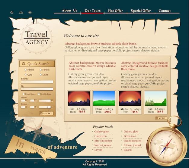 Site cinza para agência de viagens Vetor Premium