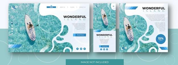 Site de landing page de viagens, tela do aplicativo e modelo de postagem de feed de mídia social com praia Vetor Premium