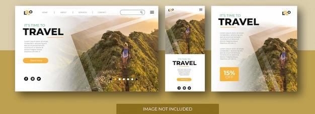 Site de página de destino de viagem, tela do aplicativo e modelo de postagem de feed de mídia social com garota caminhadas montanha Vetor Premium