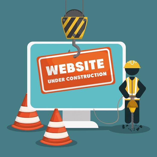 Site em construção com computador desktop Vetor Premium
