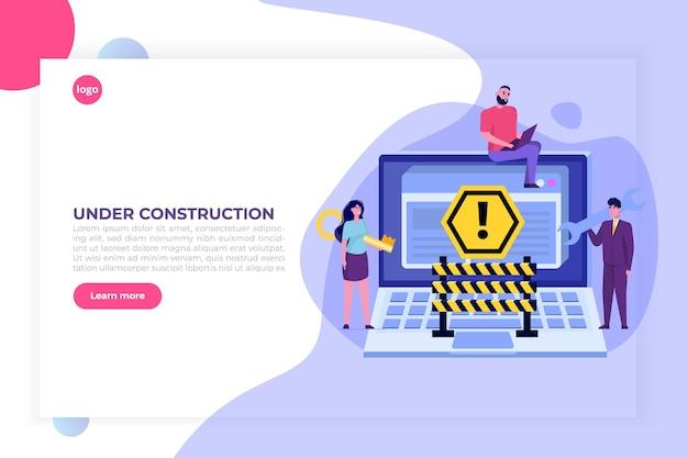 Site em desenvolvimento, site em construção Vetor Premium